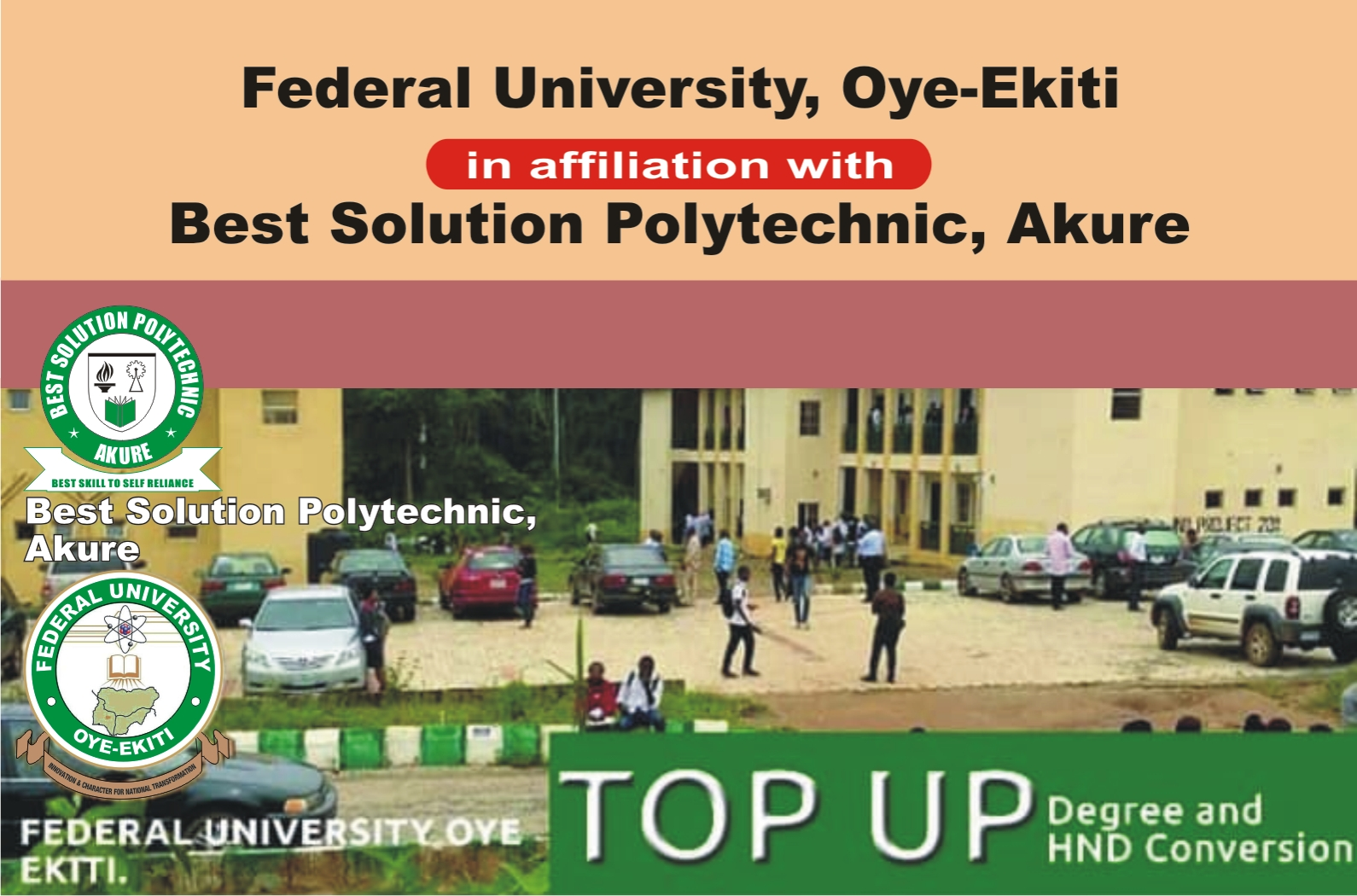 Admission into the Federal University, Oye-Ekiti Top-Up/Conversion Programme with Best Solution Polytechnic
